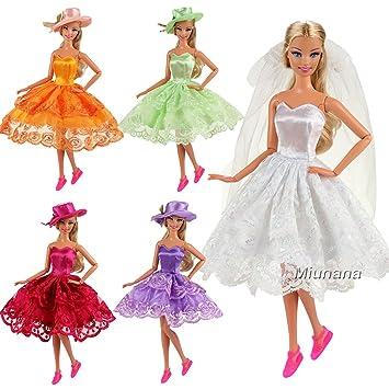 Miunana 9 artículos=3X vestidos 3 pares de zapatos 3X sombreros/velos para Barbie