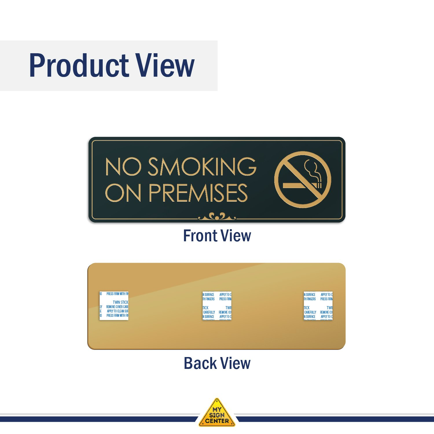 .050 Black and Gold Plastic Visual 52 Laser Engraved Sign 3x9 No Smoking On Premises