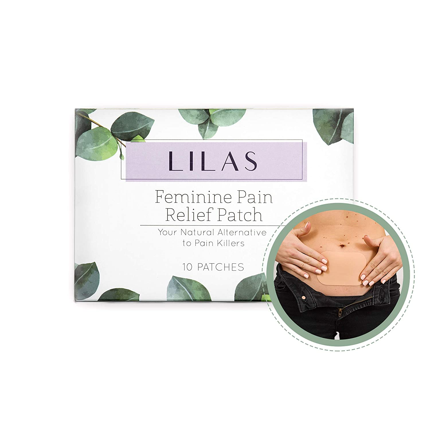 LILAS Pain Relief Patch (10-Pack) - Natural Relief for Menstrual Period Cramps | Made of Essential Oils | Designed for PMS Relief | Plant Based Painkiller Alternative