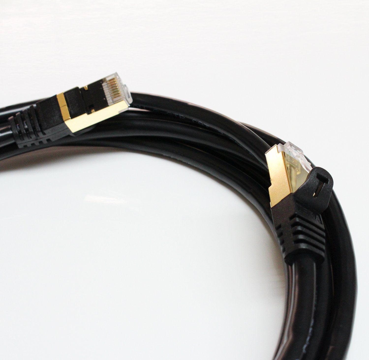 Tera Grand 7 Feet Black Premium CAT7 Double Shielded 10 Gigabit 600MHz Ethernet Patch Cable for Modem Router LAN Network Built with Gold Plated /& Shielded RJ45 Connectors