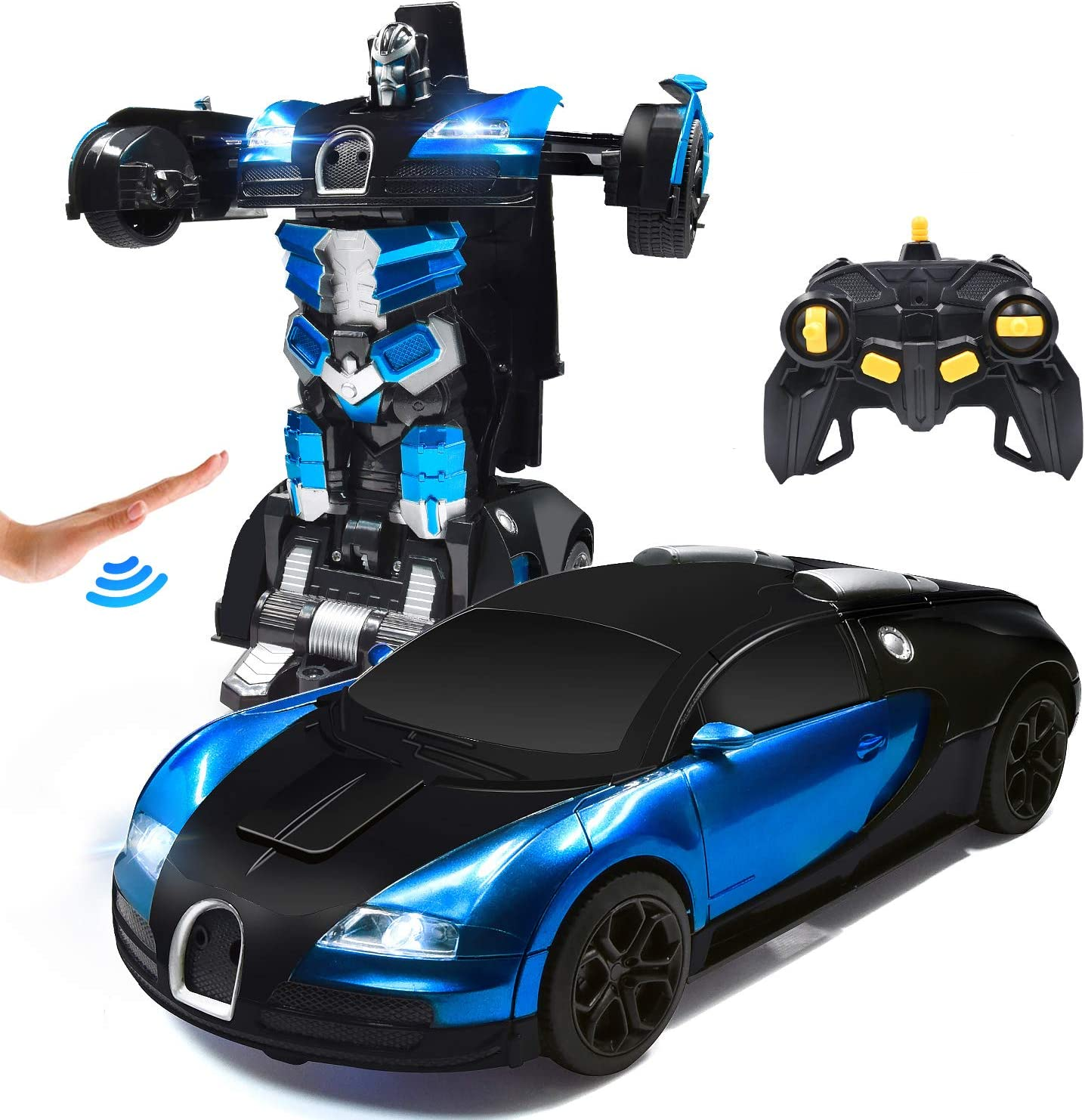 Deformation Remote Control Vehicle with Gesture Sensing One Button Transformation 360/°Rotating Drifting 1:14 Scale Best Gift for Boys and Girls Blue Jeestam RC Robot Car for Kids Transform Car Toy