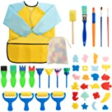 Surplex 42 Piezas Niños Temprano Aprendizaje Esponja Pintura Cepillos Kit, para Niños Pintura DIY Artesanías, Incluye…