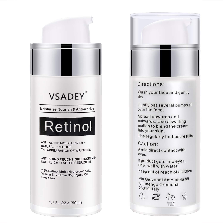 Retinol Serum von Vsadey | 2,5% Retinol mit 20% Vitamin C & Hyaluronsäure - Bestes Anti-Aging für Haut, Gesicht, Dekolleté und Körper, Anti Pickel + Mitesser, Anti Falten Straffendes Serum für Männer und Frauen