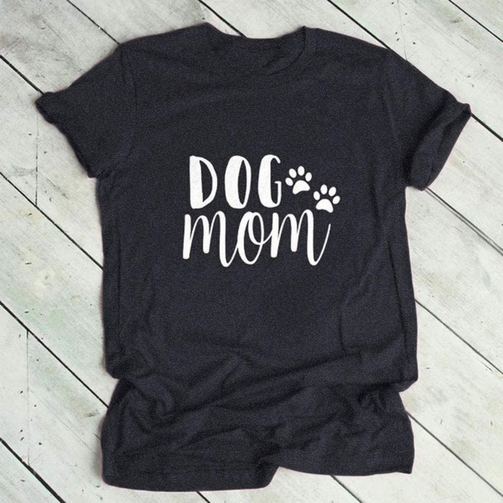 ZOMUSAR New Women Plus Size Print Round Neck Short Sleeved T-Shirt Blouse Dog Mom Letter Tops