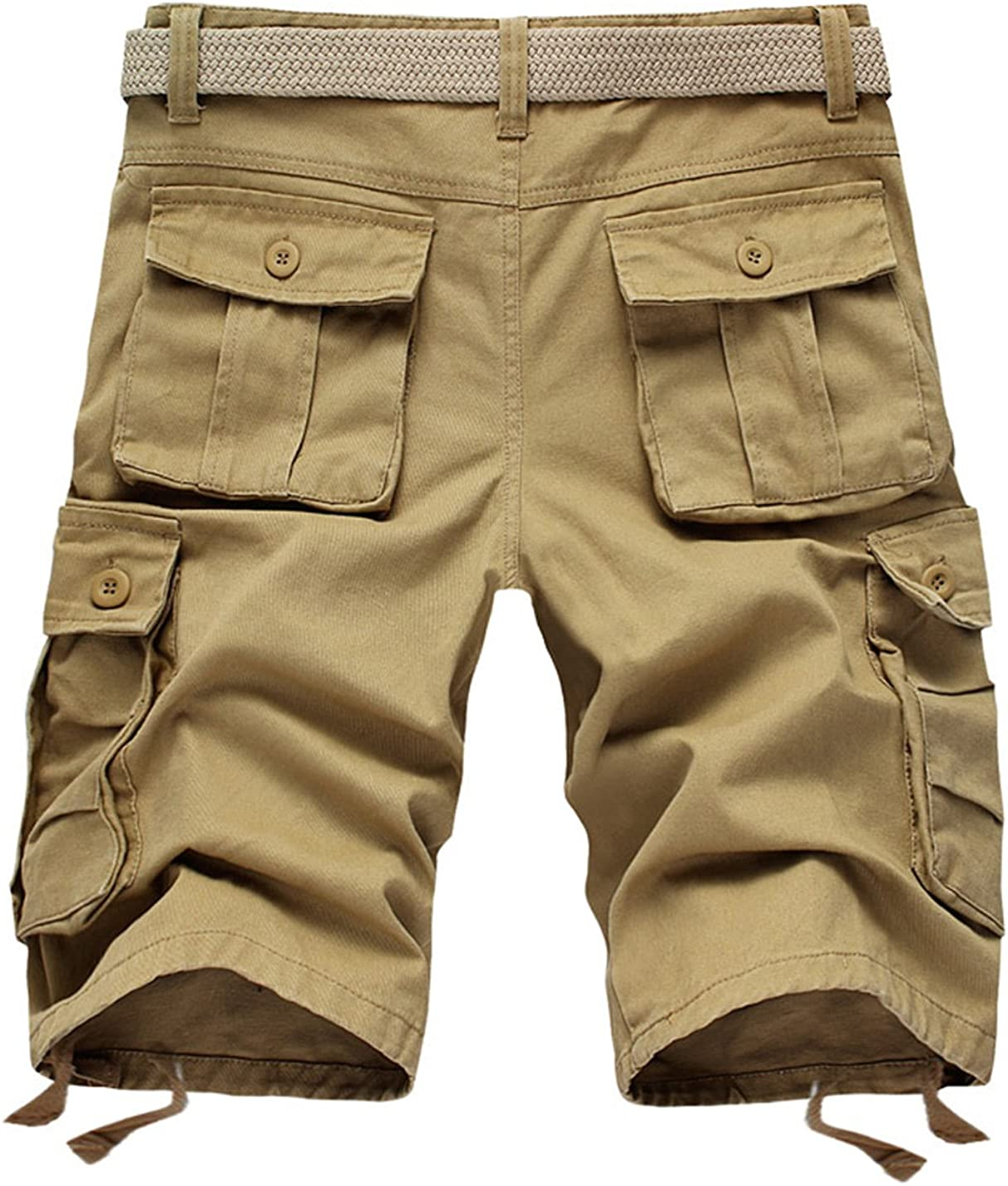 Tanming Mens Outdoor Pure Color Casual Slim Overalls Cargo Shorts