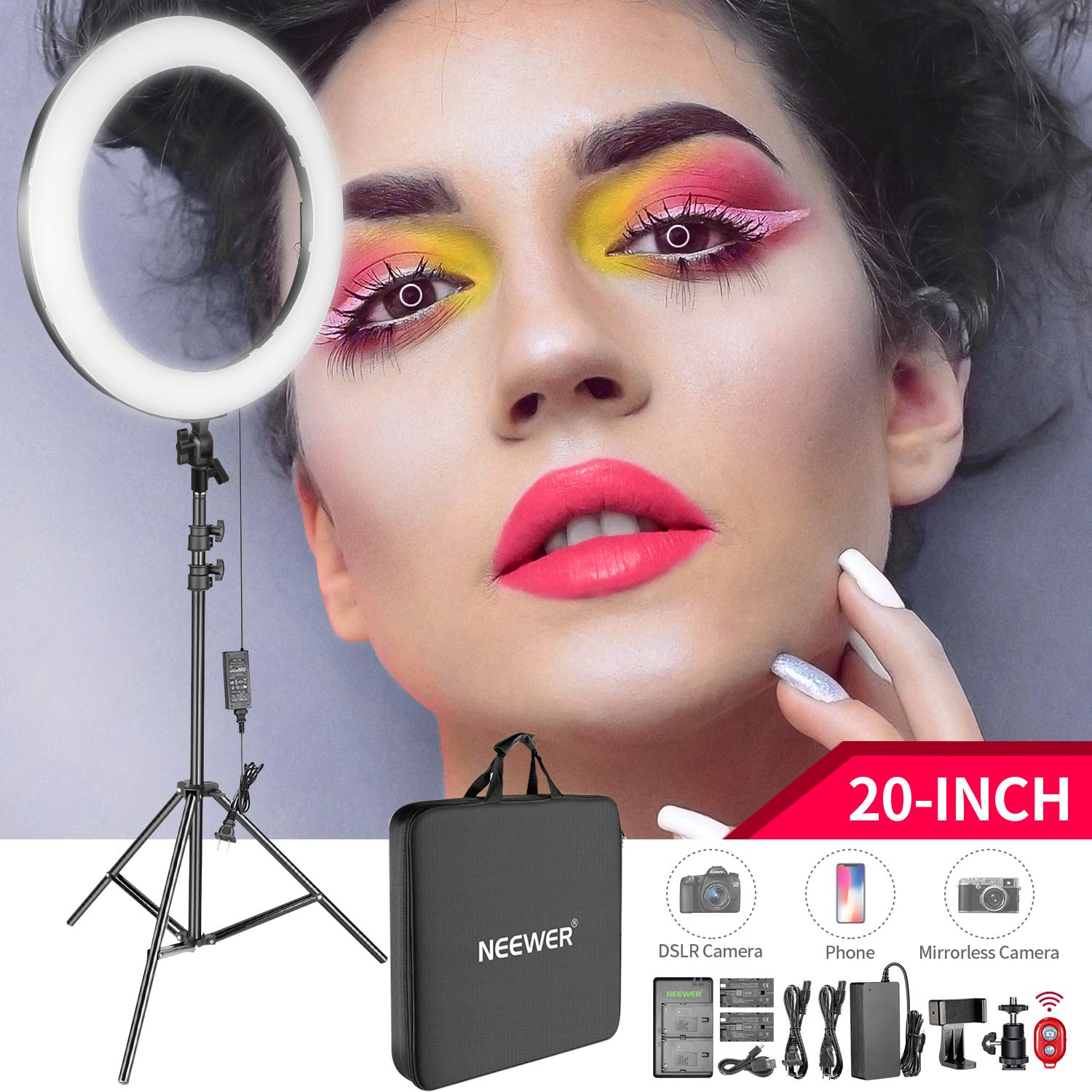 Neewer 20-inch LED Ring Light Kit for Makeup Youtube Video Blogger Salon - Adjustable Color Temperature with Battery or DC Power Option, Battery, Charger, AC Adapter, Phone Clamp and Stand Included by Neewer