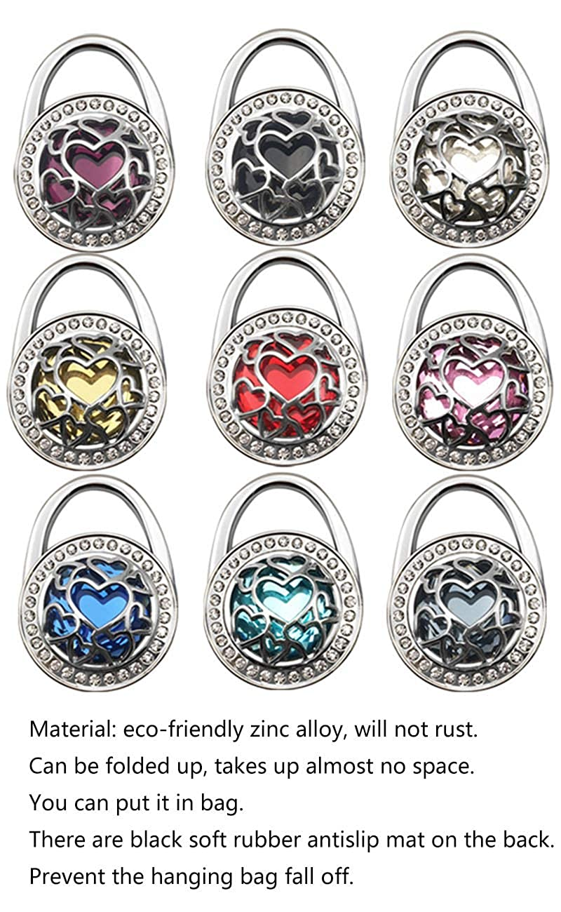 Grtdrm Multiple Hearts Style Premium Foldable Handbag Bag Purse Hanger Table Hook