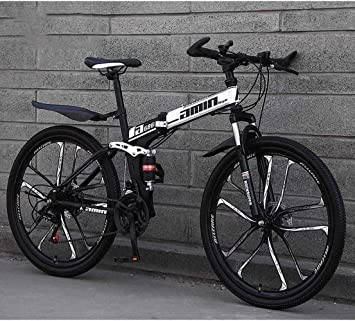 CSS Bicicletas plegables de bicicleta de montaña, freno doble de disco de 26 pulgadas y 24 velocidades, suspensión completa antideslizante, cuadro de aluminio ligero, horquilla de suspensión, blanco,: Amazon.es: Bricolaje y herramientas