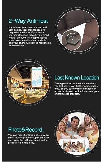 Cartera Antirrobo Inteligente, Alarma Antipérdida con Bluetooth 4.0 para Hombres Cuero Negro, iPhone y Android Compatible, Recargable, Duración de la ...