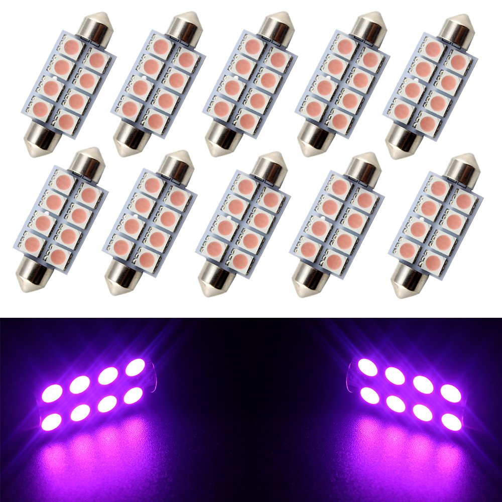 GrandviewTM 10-Pack Super Bright Blue 41MM Festoon Light 5050 8SMD LED Interior Map Dome Lights Bulbs 578 211-2 212-2