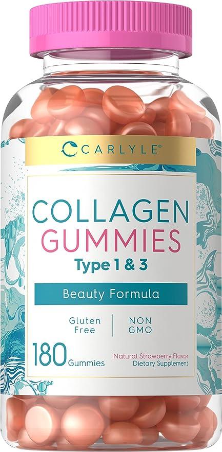 Carlyle Collagen Gummies   180 Count   Type 1 & 3   Strawberry Flavor Beauty Supplement   Hydrolyzed Collagen for Women & Men   Non-GMO, Gluten Free