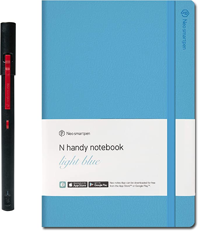 iOS Black Bundle with N Professional Notebook - Compatible with Android NEO SMARTPEN M1+ Bluetooth Pen with Neo Notes and PaperTube Companion App and Windows Black, 250 Pages