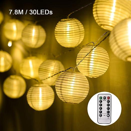 EKKONG 7.8 Metros 30 LED Guirnaldas de Luces con Control Remoto,Farol luz cadena resistente