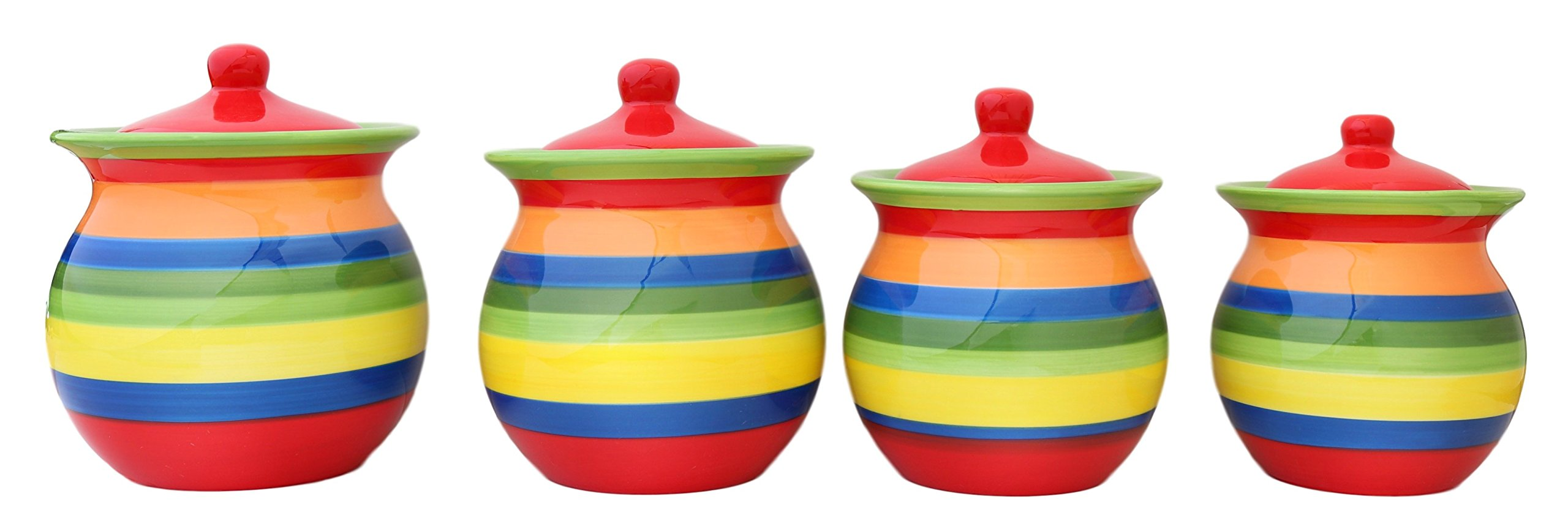 Tuscany Colorful Hand Painted Rainbow Canisters, Set of 4, 81701 by ACK by ACK