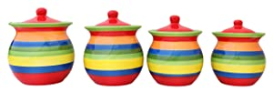 Tuscany Colorful Hand Painted Rainbow Canisters, Set of 4, 81701 by ACK