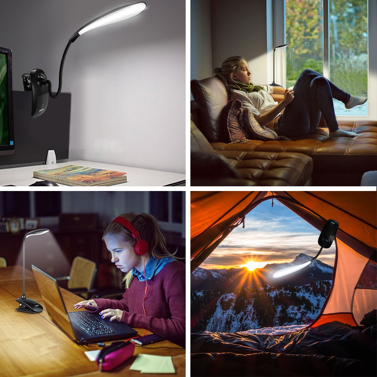 AMIR 16 LED Book Light, Clip on Reading Light, Flexible Book Reading Lamp, USB Rechargeable Bedside Desk Lamp with 3 Levels Brightness, Touch Switch, Good Eye Protection for Reading in Bed, Black by AMIR (Image #6)