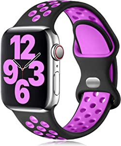Vcegari Sports Band Compatible with Apple Watch 38mm 40mm Women Men, Breathable Silicone Replacement Strap for iWatch SE Series 6 5 4 3 2 1, Black/Purple M/L
