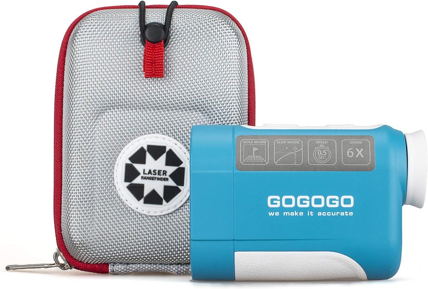 Gogogo Sport 650/900Yard Golf Rangefinder, 6X Magnification Laser Range Finder, with Pinsensor - Flag-Lock - Support Vibration - Slope Calculation- High-Precision Scan - Include Battery CR2