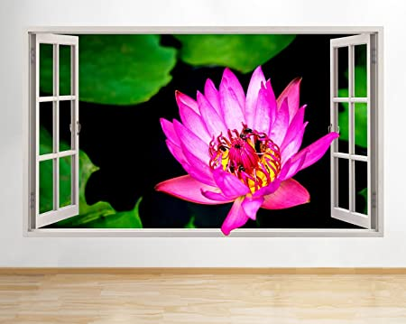 C968 Pink Flower Lillipad Pond Hall Window Wall Decal 3D Art ...