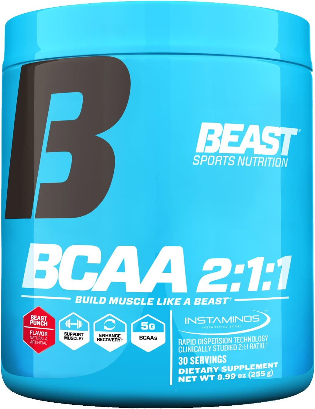 Beast Sports Nutrition BCAA 2 1 1 Amino Acid Supplement Support Muscle Growth Minimize Muscle Breakdown Accelerate Recovery Increase Protein Synthesis Beast Punch 30 Servings