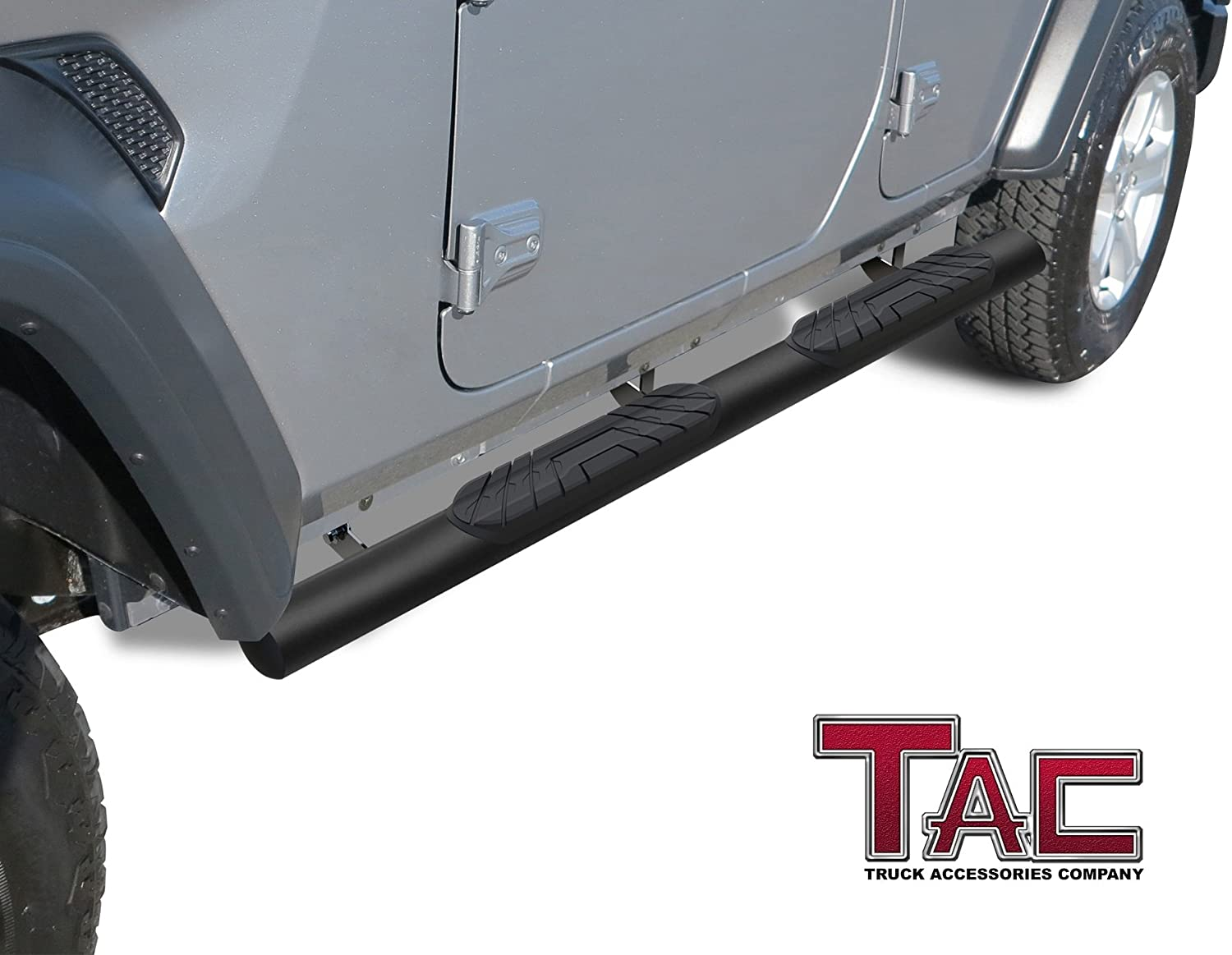 TAC Side Steps Running Boards Fit 2018-2020 Jeep Wrangler JL 4 Door SUV 4 inches Oval Texture Black Side Bars Step Rails Nerf Bars Rocker Panel Off Road Accessories 2 Pieces Running Boards