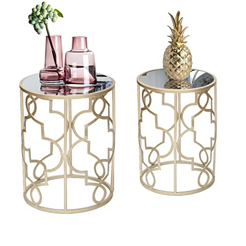 Joveco End Tables Set of 2 Coffee Table Gold Nightstands Indoor Outdoor Decorative Round Nesting Tables Gold-1