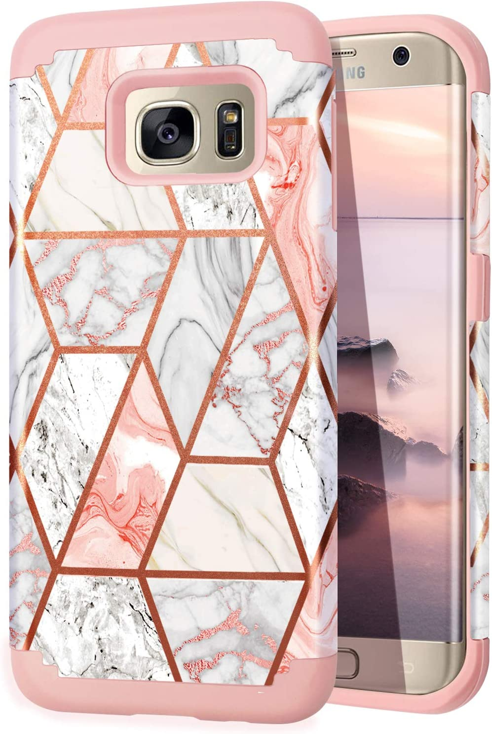 Fingic Galaxy S6 Edge case, Samsung S6 Edge case, Rose Gold Marble Design Shiny Glitter Bumper Hybrid Hard PC Soft Rubber Anti-Scratch Shockproof Protective Cases Cover for Samsung Galaxy S6 Edge 2015