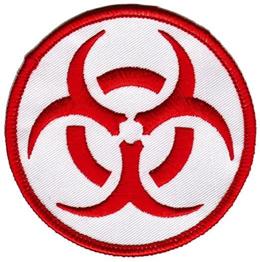 Biohazard Symbol Embroidered Patch Iron On Danger Symbol Red On