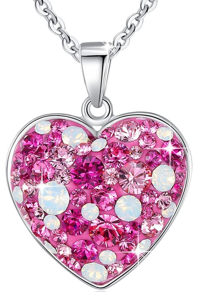 Esottia Multi-stone Heart Pendant Necklace ''Fill Your Heart with Love'' Made with Swarovski Crystals 18''+2'' Love Heart Necklace Color Pink for Girlfriend Wife Mother Daughter