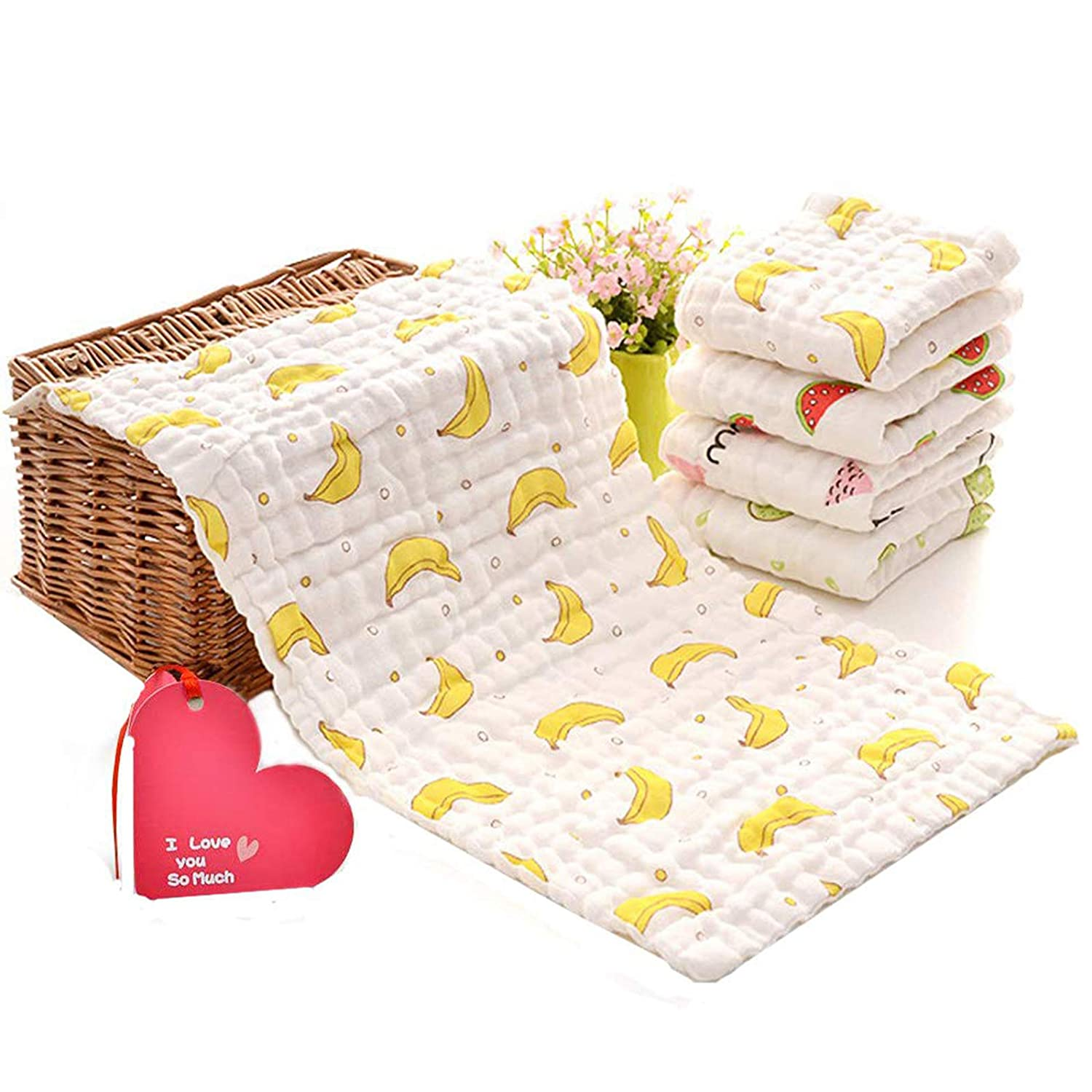 KOROTUS Muslin Baby Burp Cloths Washcloths Face Towels 5-Pack Extra Large 10 X 20 inches 6 Layers Super Absorbent Premium Soft Natural for Sensitive Skin Baby 100% Organic Cotton