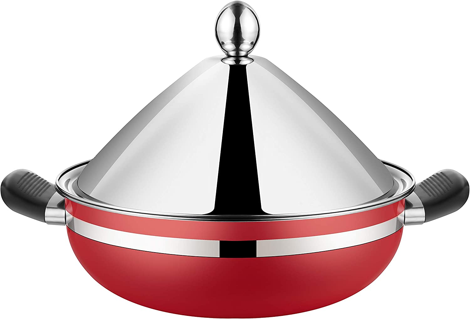 Stainless Steel Moroccan Tagine Pot, Steamer Pot, Braiser Tajine with Lid,10.2 Inches, 26cm,Red color