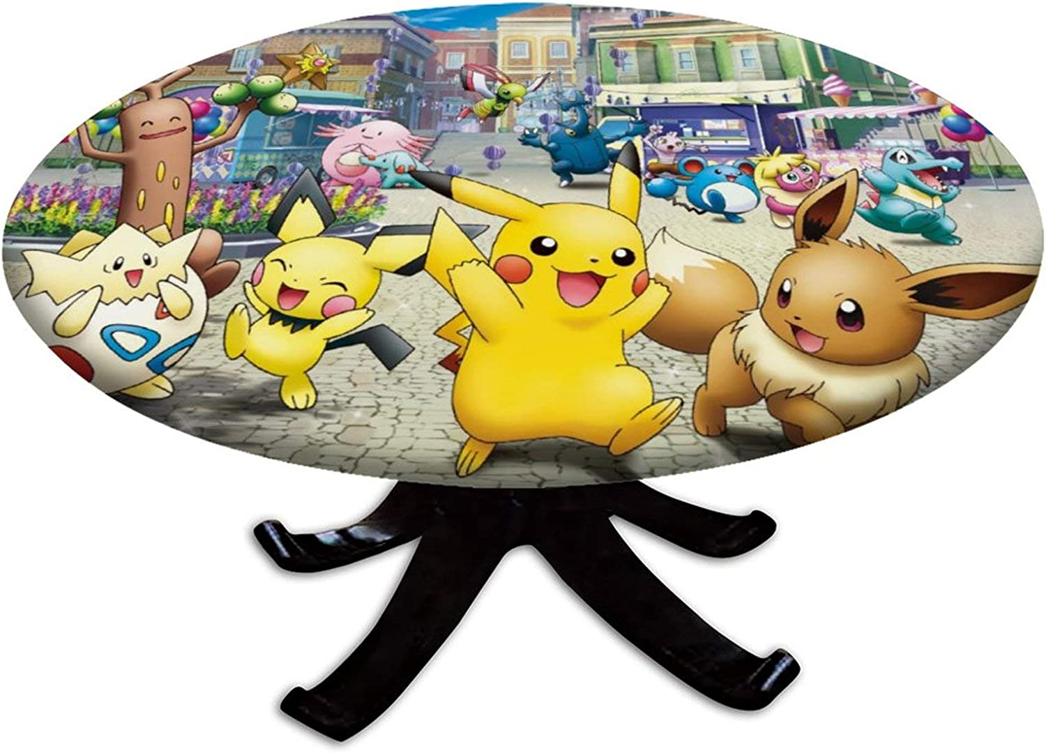 """Elastic Edged Fitted Table Cover,Pikachu Pichu Eevee Togepi ,Cute Anime Home Delux Decor for The Indoor Outdoor Dining Room,Fits up 45""""-56"""" Diameter Round Tables"""