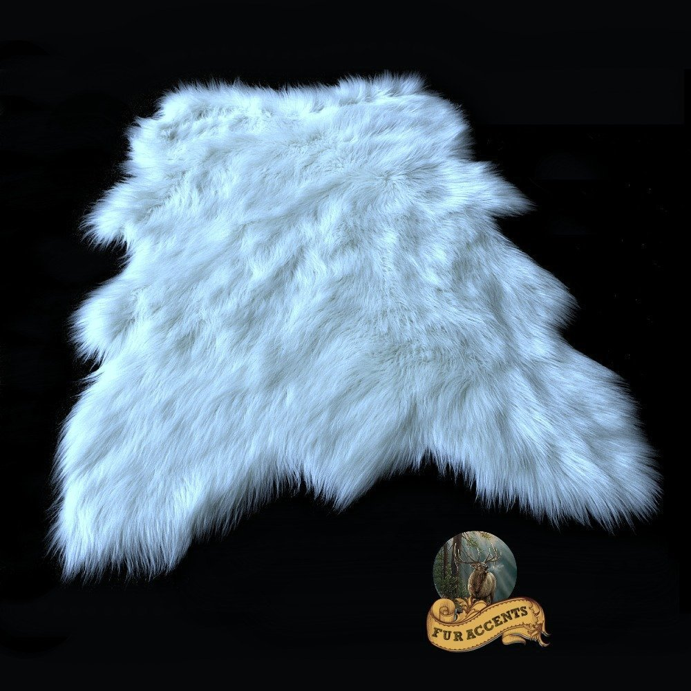 Faux Sheepskin Area Throw Rug Shaggy Shag Aussie Sheep White Thick Faux Fur (5'x7')