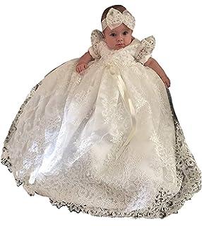 Lang Newborn Festlich Kleid 0-24 Monate CDE Baby M/ädchen Besticktes Spitzenkleid Taufkleid mit Hut im Set 3 teilig