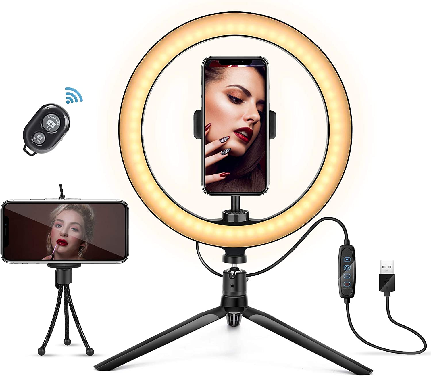 ZHENREN LED Beauty Ringlight Timing 3 Lighting Modes 5 Brightness Circle Light for Photography Makeup Live Stream Vlogging 10 Selfie Ring Light with Tripod Stand Phone Holder and Remote Control