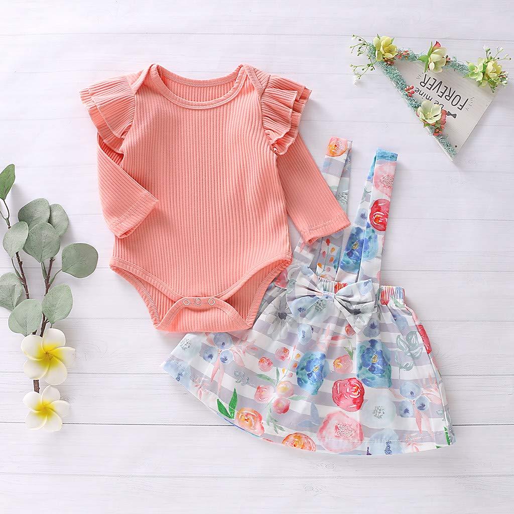 gonne Bretelle con Stampa Floreale Voberry Abbigliamento Bambina Completi e Coordinati Neonata Neonato Pagliaccetto Manica Lunga Bambina