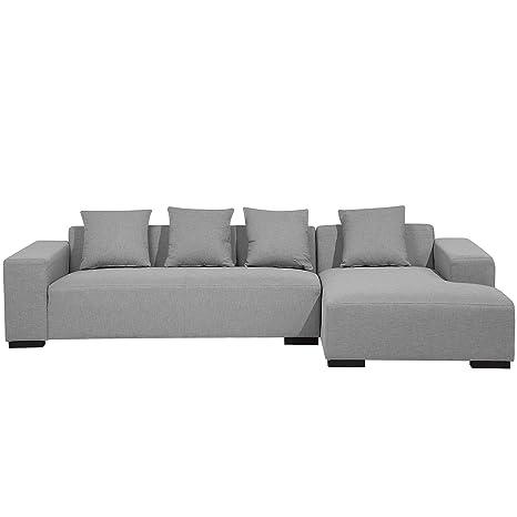 Beliani sofá de Esquina - Sofá en Tejido Gris Claro - Lungo ...