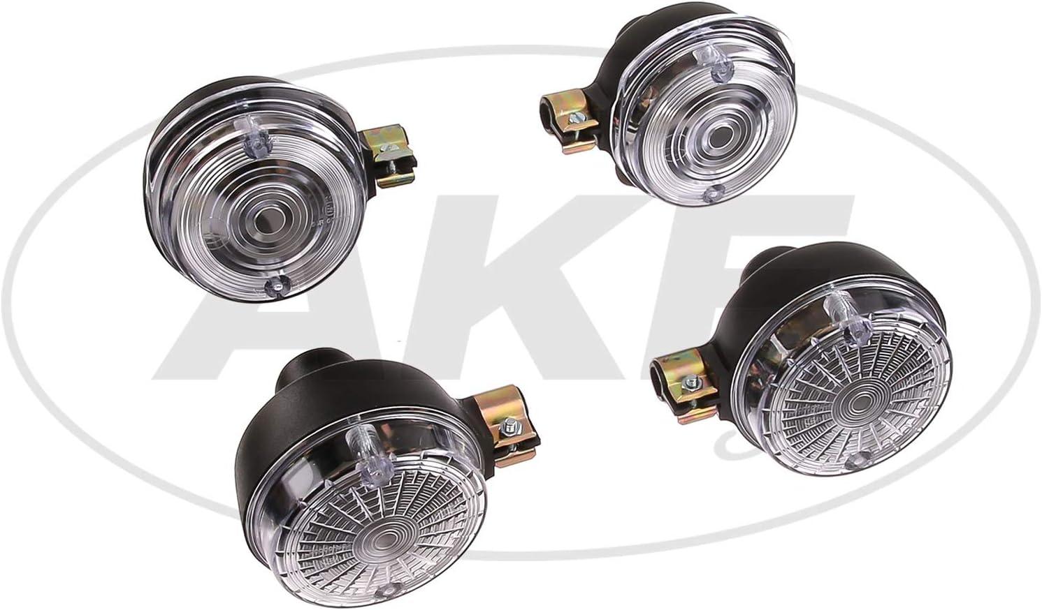 Mza Fahrzeugelektrik Set 4 Blinker Rund In Schwarz Mit Weißem Glas Simson S50 S51 S70 Sr50 Sr80 Mz Etz Ts Auto