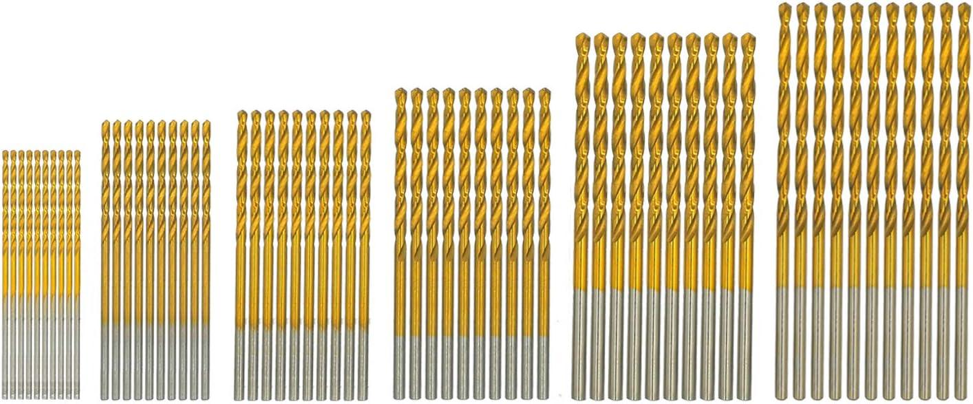 "amoolo Drill Bit Set (60 pcs), Titanium Coated Twist Drill Bits for Wood, Soft Metal, Plastic, Aluminum Alloys, 1/8""-3/64"""