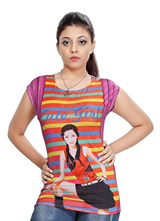 de4c6b6efdb626 Comix Cotton Hosiery Fabric Round Neck Printed Top For Women(AGSPL-3033-TS-04-MULTICOLOUR04-FREE)   Amazon.in  Clothing   Accessories