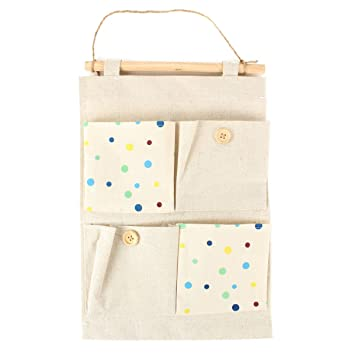 yevita 4 pockets vintage canvas home wall hanging storage organizer holder bag polka dots nice wall hanging office organizer 4