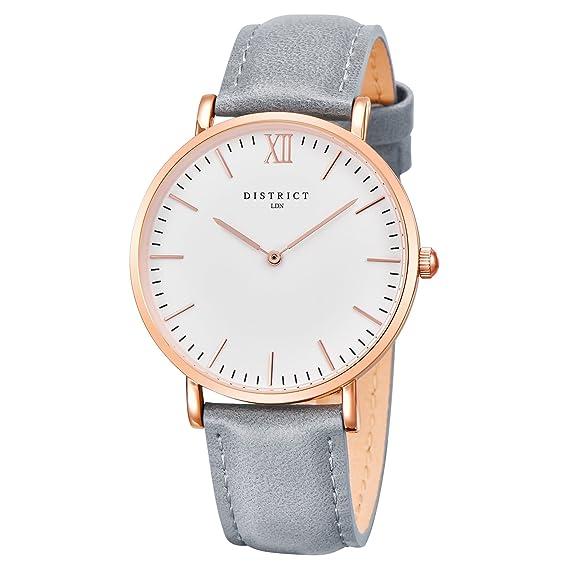 Reloj de pulsera de piel para mujer, de DISTRICT, London Rose, de cuarzo