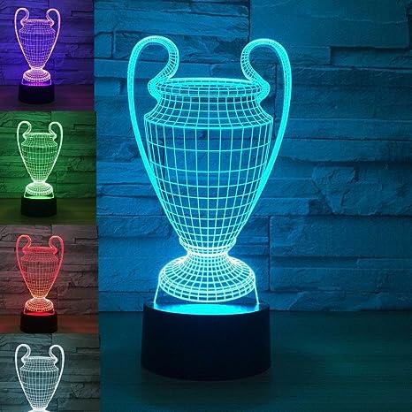 3D Illusion Trofeo De La Copa De Futbol Lámpara luces de la noche ajustable 7 colores