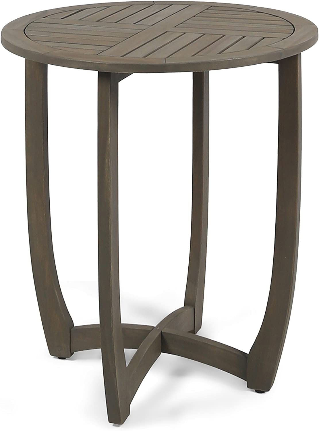 Christopher Knight Home 305135 Andria Outdoor Acacia Wood Bistro Table, Gray Finish