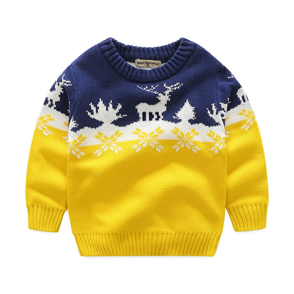 Boys Sweaters Knitting Pattern Pullovers Kids Boys Clothing Yellow 10T