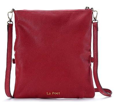 La Poet Women s Genuine Leather Lightweight Travel Everyday Foldover Zip  Crossbody Bag Shoulder Handbag Wristlet Purse