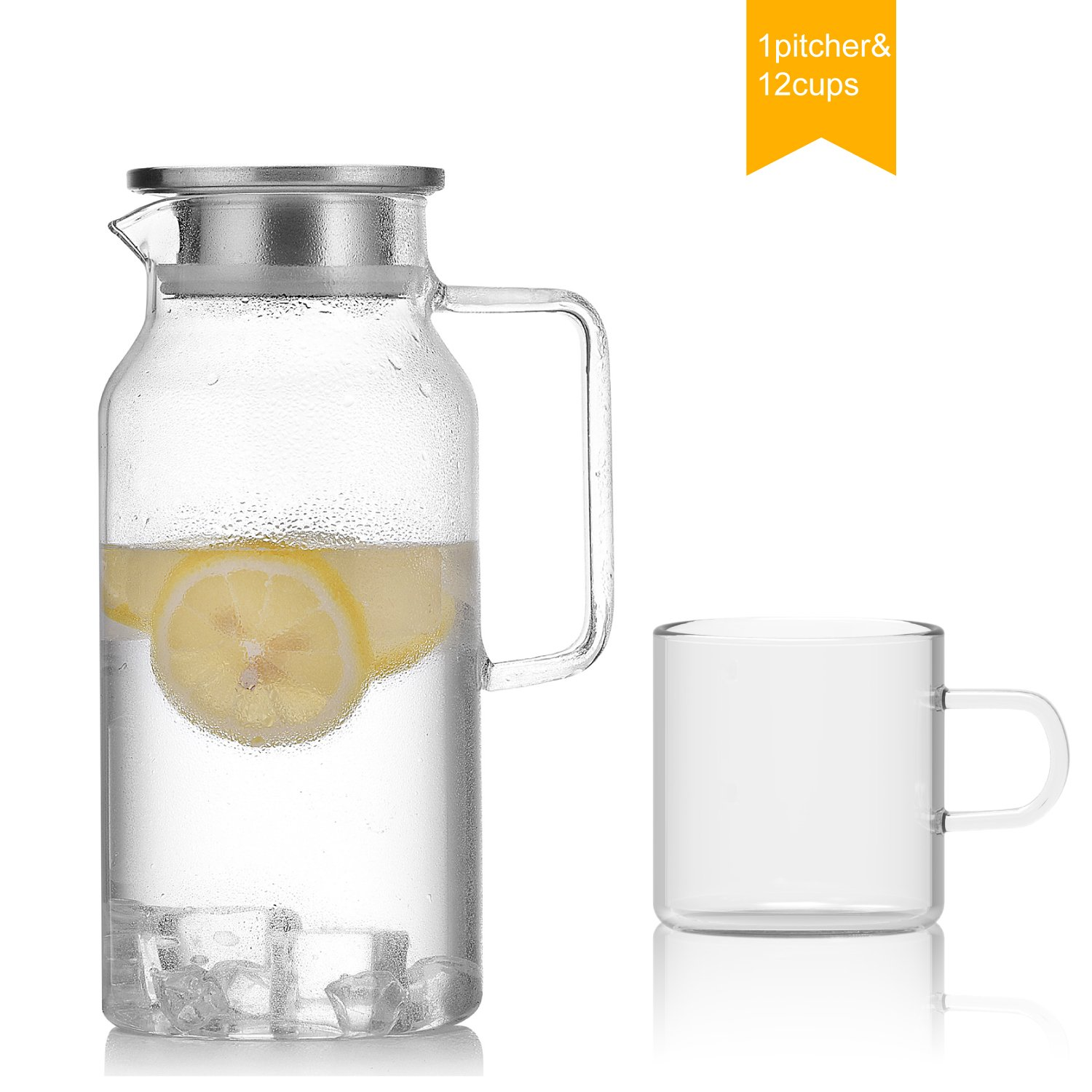 NORTHOME 58oz glass pitcher with lid,borosilicate hand blown jug for hot/cold water,juice or tea drinks carafe set (12, set of 13(1pitcher & 12 cups))