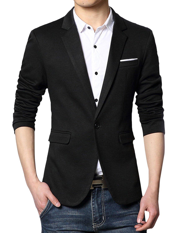 49d9ca976e2e Pishon Men s Casual Blazer Jacket Lightweight Cotton Slim Fit One Button  Sport Coat at Amazon Men s Clothing store