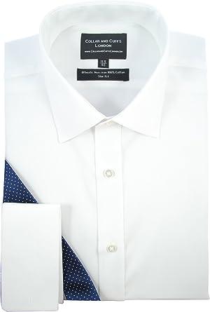 COLLAR AND CUFFS LONDON Camisa de manga larga de algodón y corte ajustado para hombre: Amazon.es: Ropa y accesorios