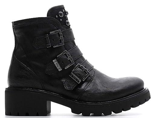 Biker NEROGIARDINI A807141-100 7141 Botas DE Mujer con Hebillas Y Tachuelas: Amazon.es: Zapatos y complementos